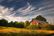 Wooden Barns Posters - Painted Sky Barn Poster by Benanne Stiens