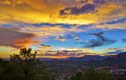 Sedona Digital Art Prints - Painted Skys Over Sedona Print by Lou  Novick