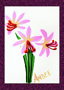 Surprise Painting Prints - Painted Surprise Lilies Print by Andee Photography
