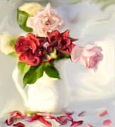 Roses Framed Prints - Painted Teas Framed Print by Linde Townsend