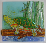 Dragonfly Glass Art - Painted Turtle Pond by Michelle Rial