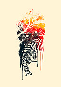 Ink Framed Prints - Painted Tyger Framed Print by Budi Satria Kwan