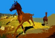Wild Horses Digital Art - Painted war horses by David Lee Thompson