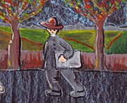 Painter Pastels Prints - Painter on his way to work Print by Peter  McPartlin