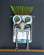 Mascot Mixed Media Metal Prints - Painter Owl Metal Print by Bill  Thomson