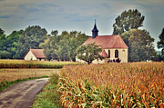 Village In France Posters - Painterly French Cornfield In Autumn Poster by Kelly Sillaste