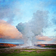 Solstice Posters - Painterly Old Faithful, Yellowstone National Park Poster by Trina Dopp Photography