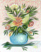 Vase Of Flowers Digital Art Prints - Painterly Vase of Flowers Print by Barbara Griffin