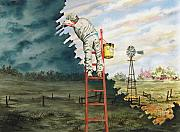 Ladder Paintings - Paintin Up A Storm by Sam Sidders