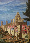 Egg Tempera Art - Painting   Medieval City by Judy Via-Wolff