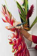 Beauty Spa Art Prints - Painting a Ginger Blossom Print by Tomas del Amo - Printscapes