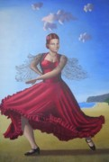 Children Portrait Print Prints - Painting Artwork Flamenco Dancing in Seville Beach  Print by Luigi Carlo