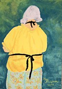 Shirt Pastels Prints - Painting in Her Black Apron Print by Terri Thompson