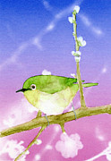 Color Purple Posters - Painting Of A Bird Perched On A Branch Poster by Kazuhiro Iwata