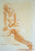 Strong Drawings Originals - Painting of a Young Woman by Mike Jory