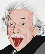 Education Prints - Painting Of Albert Einstein Print by Setsiri Silapasuwanchai