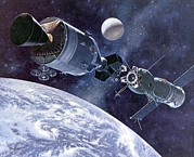 Space Exploration Art - Painting Of Apollo-soyuz Test Project by Everett