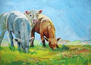 Mike Jory Cow Posters - Painting of Calves Grazing Poster by Mike Jory