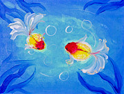 Mongkol Chakritthakool Prints - Painting Of Goldfish In Water Print by Mongkol Chakritthakool