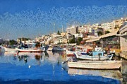 Boat Paintings - Painting of Mikrolimano port  by George Atsametakis