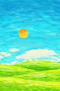 Field. Cloud Prints - Painting Of Nature In Spring And Summer Print by Setsiri Silapasuwanchai