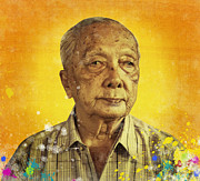 Masterpiece Photo Prints - Painting Of Old Man Print by Setsiri Silapasuwanchai