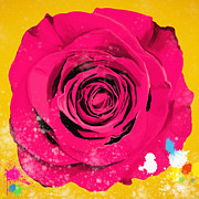 Backgrounds Digital Art Metal Prints - Painting Of Single Rose Metal Print by Setsiri Silapasuwanchai
