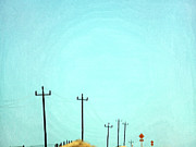 Road Sign Prints - Painting Of Telegraph Poles Print by Virginia Star