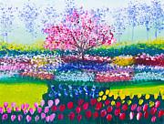 Mongkol Chakritthakool Prints - Painting Of Tulip Flowers Field And Tree Print by Mongkol Chakritthakool