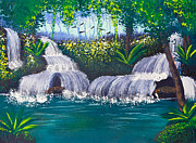 Mongkol Chakritthakool Prints - Painting Of Water Fall Print by Mongkol Chakritthakool