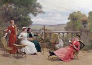 Garden Chairs Posters - Painting on the Terrace Poster by Jules Frederic Ballavoine