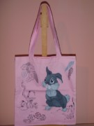 Handmade Tapestries - Textiles - Painting on tote bag by Ioana Elisabeta Farcasiu