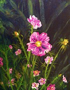 Judy Via-wolff Art - Painting Pink Streaked Cosmos by Judy Via-Wolff