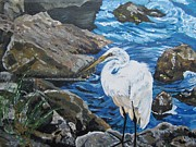 Painting  Sharon's Heron On The Rocks Print by Judy Via-Wolff