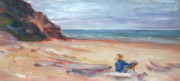 Pacific Northwest Painting Posters - Painting the Coast - Scenic Landscape with Figure Poster by Quin Sweetman