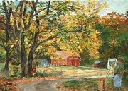 New England Village Originals - Painting the Fall Colors by Claire Gagnon