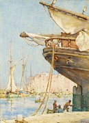 Repair Painting Framed Prints - Painting The Rudder Framed Print by Pg Reproductions