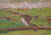 Painter Pastels Posters - Painting the Wetlands Poster by Terri Thompson