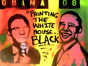 Barack Obama Prints - Painting The White House Black Print by Tony B Conscious