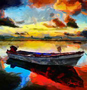 Vincent Dinovici Art - Painting with boat at sunrise TNM by Vincent DiNovici