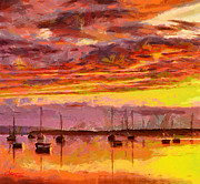 Vincent DiNovici - Painting with boats at sunset TNM