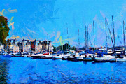 Vincent DiNovici - Painting with boats on Ontario Lake on a summer day TNM
