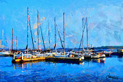 Vincent Dinovici Art - Painting with boats on Ontario Lake TNM by Vincent DiNovici