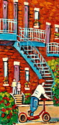 Montreal Street Life Paintings - Paintings Of Heritage Montreal Summer Staircases City Scenes by Carole Spandau