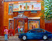 Cafe Bistros Posters - Paintings Of Montreal Fairmount Bagel Shop Poster by Carole Spandau