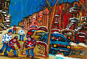 Street Hockey Prints - Paintings Of Montreal Hockey City Scenes Print by Carole Spandau