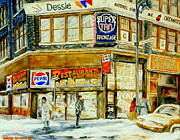 French Signs Paintings - Paintings Of Montreal Streets Downtown Restaurants Rue Ste. Catherine City Scene by Carole Spandau
