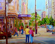 Montreal Restaurants Paintings - Paintings Of Montreal Streets Holt Renfrew Sherbrooke Street by Carole Spandau