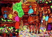 Paintings Of Montreal Streets Old Montreal With Flower Cart And Caleche By Artist Carole Spandau Print by Carole Spandau