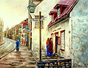 Store Fronts Framed Prints - Paintings Of Quebec Landmarks Aux Anciens Canadiens Restaurant Rainy Morning October City Scene  Framed Print by Carole Spandau